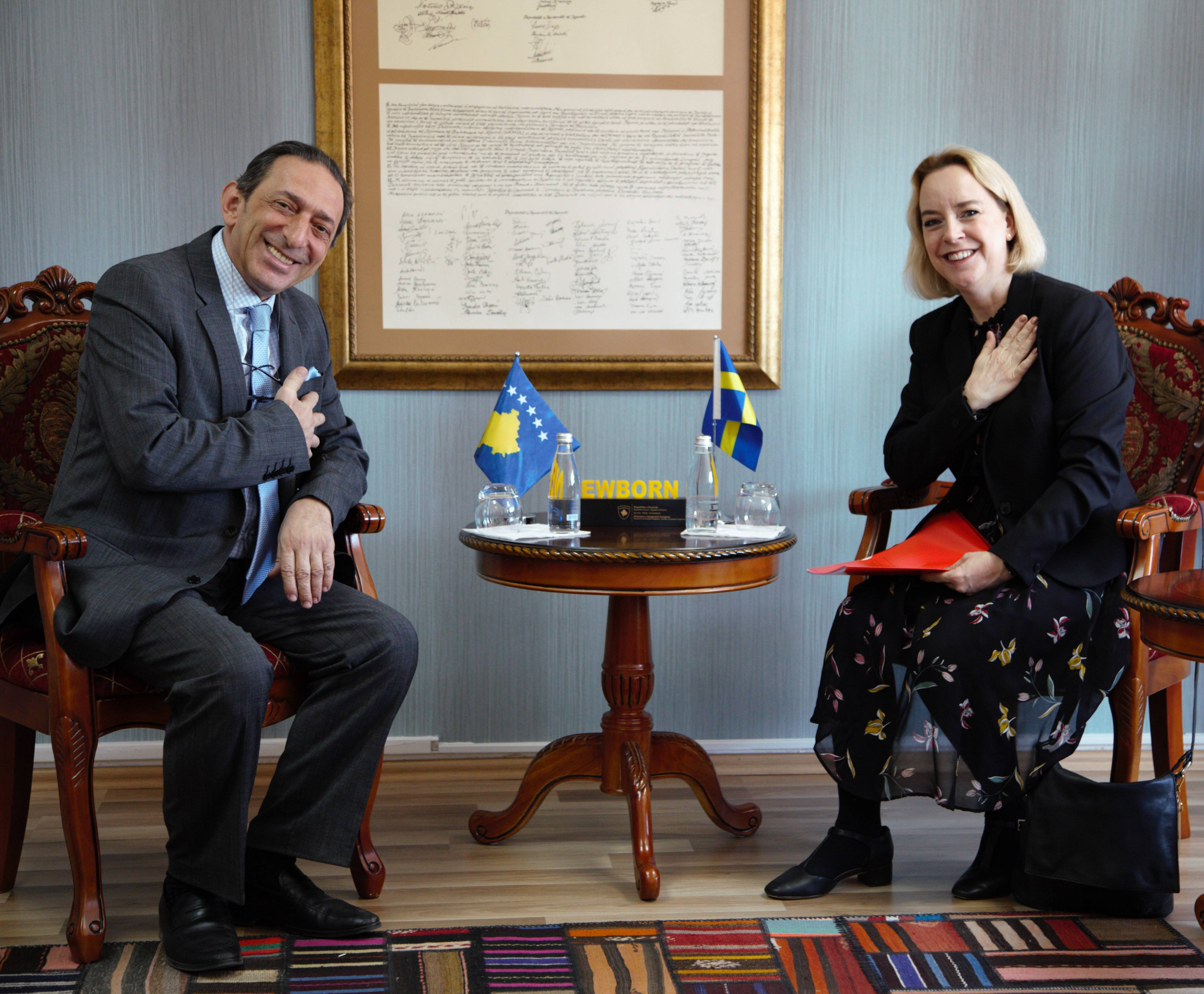 Minister Reka hosted in a meeting the Swedish Ambassador